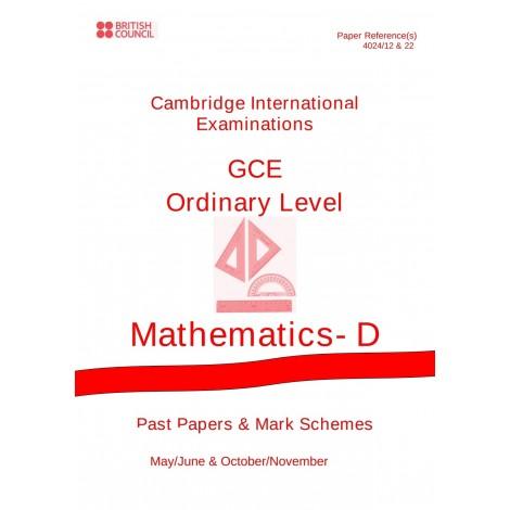 Cambridge - O Level - Past papers & mark schemes - Mathematics D - 4024